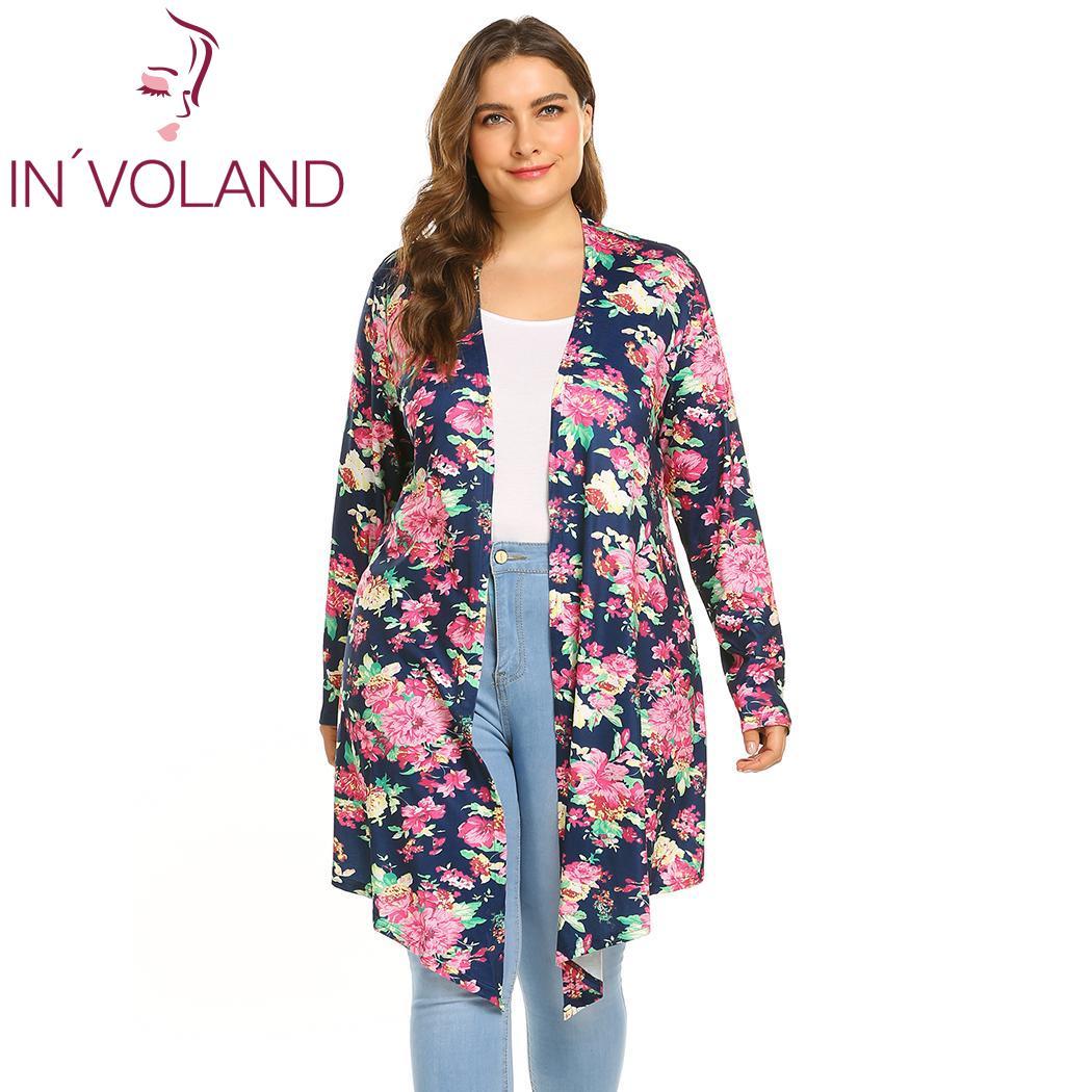 cd0312f2385 IN VOLAND Plus Size Print Women Front Open Fashion Long Sleeve Women  Cardigans Hem Drape Floral Autumn Cardigan Coats Oversize