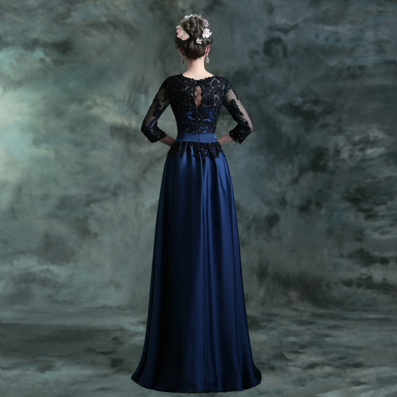 Longue Robe De soirée 2016 nouveau bleu chaud avec broderie en dentelle noire 3/4 manches Banquet mère De la mariée robes Robe De soirée - 2