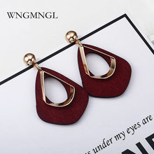 WNGMNGL Fashion Vintage Drop Earrings Korean Simple Statement Geometric Wood Dangle For Women Wedding Party Jewelry