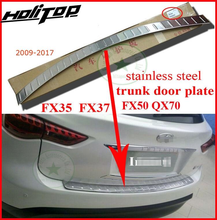 Hinten bumper einstiegsleisten hinten trunk-boot scuff platte für Infiniti QX QX70 FX FX35 FX37 FX50 2009-2017,304 edelstahl