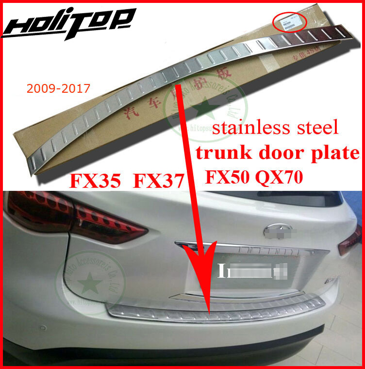 rear bumper sill protector rear trunk boot scuff plate for Infiniti QX QX70 FX FX35 FX37 FX50 2011-2017,304 stainless steel цены