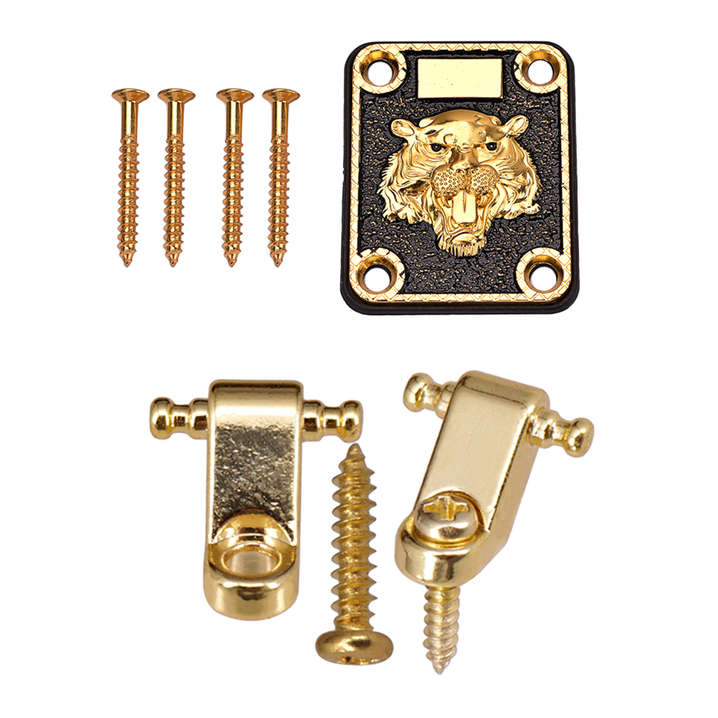 Practical Iron Zinc Alloy Golden Electric Guitar Neck Plate Cushion+String Tree Guide Set