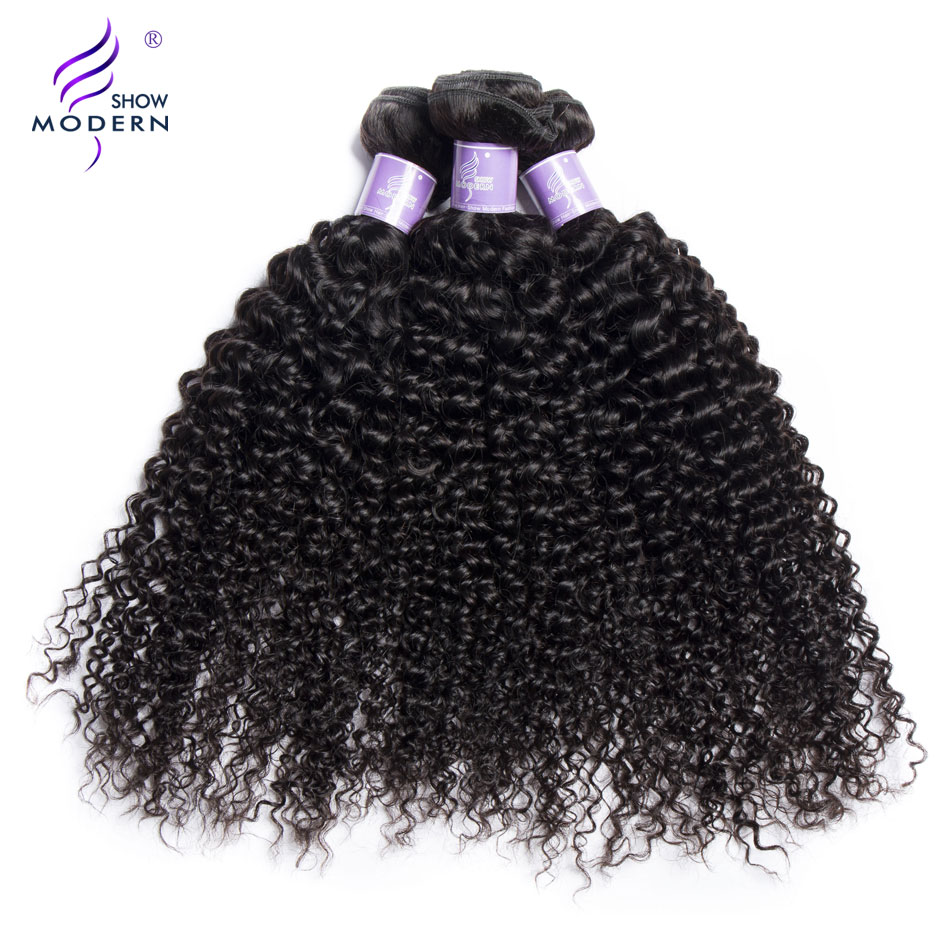 Mongolian Kinky Curly Hair 3 Pcs/Lot Modern Show Hair 3 Bundles Deal 100% Human Hair Can be dyed and Bleached Non Remy Weave