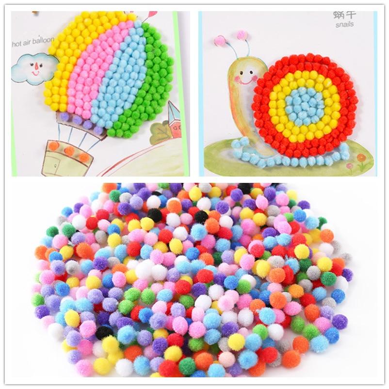 500Pcs 10mm Soft Round Fluffy Craft PomPoms Ball Mixed Color DIY Craft Decoration