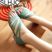 SLHJC 2018 Yaz Yeni Sandalet Açık Ayak Düşük Topuklu Deri rahat Sandalet Takozlar Topuklu Pompalar Ayakkabı 3.5 cm Topuk Boyutu 34-42