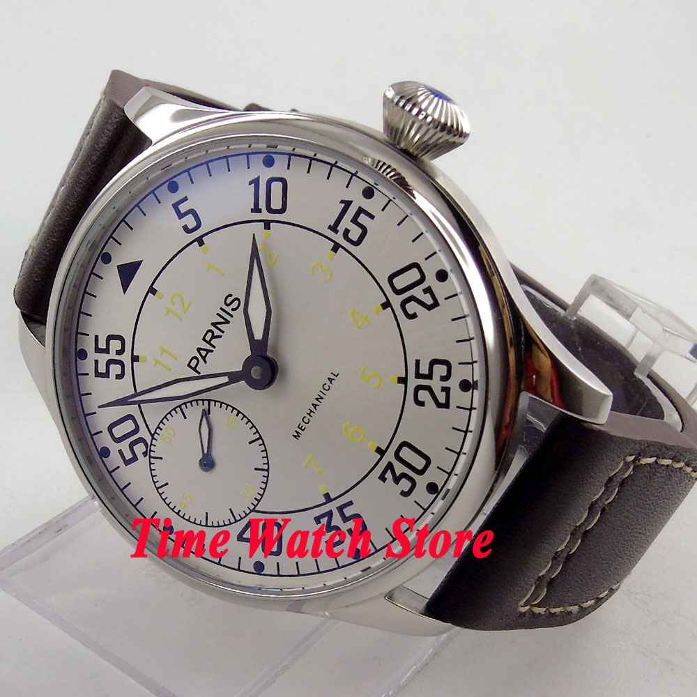 Здесь можно купить  Parnis 44mm white dial luminous dual time zone 6497 hand winding movement Men