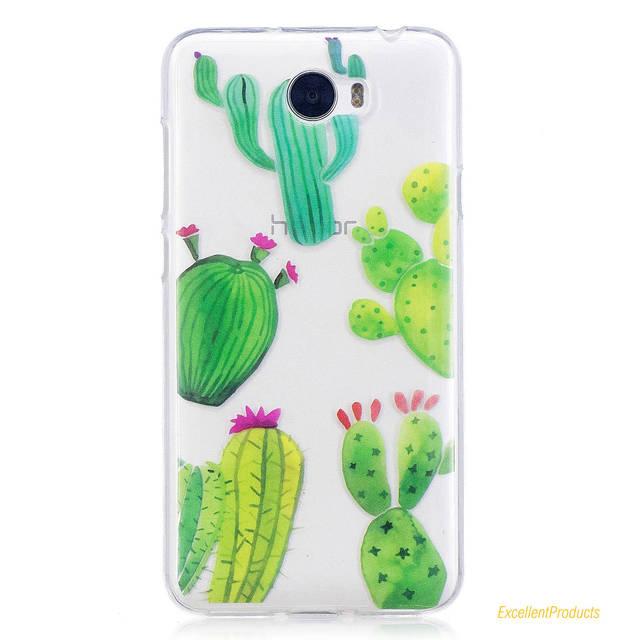 Pour Huawei Y5 II Coque fleur cactus cheval chat couverture souple TPU IMD design Coque pour Huawei Y5 II Capa Fundas