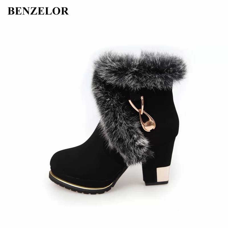 8116a5846 ... BENZELOR/Новинка 2018 года, модная зимняя женская обувь на высоком  каблуке с искусственным мехом ...
