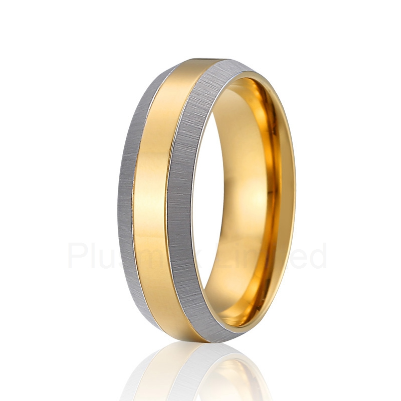 Alliance anel gold color wedding band handmade fashion titanium finger ring men