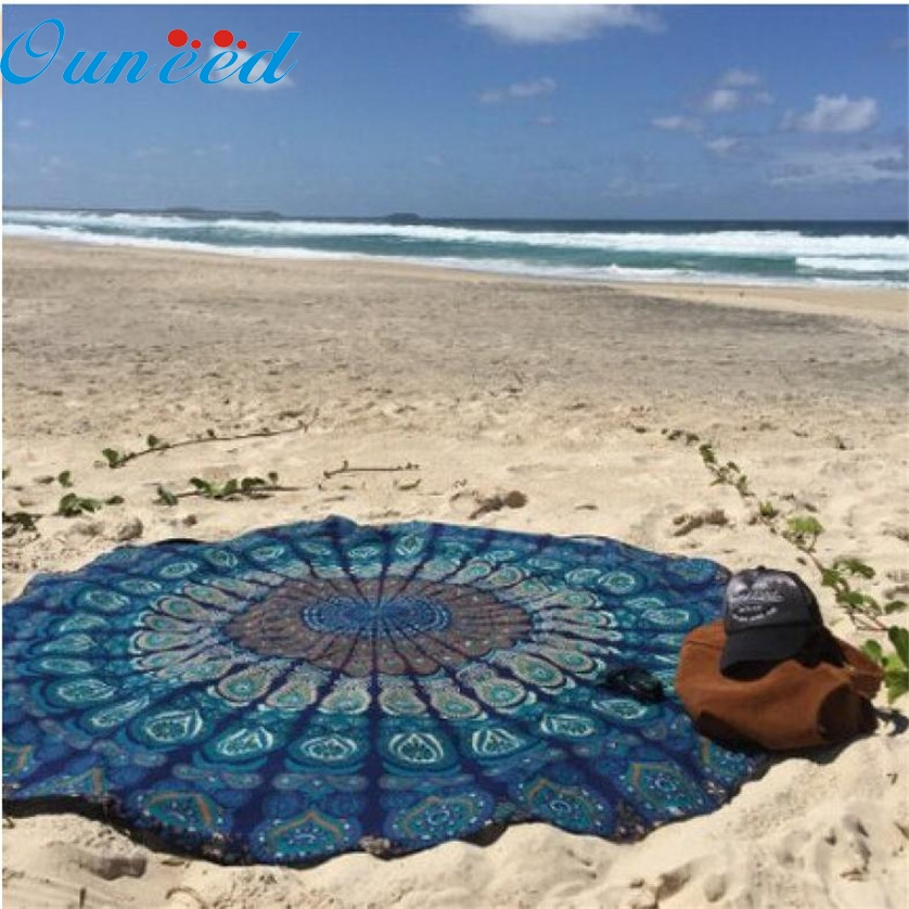 New Muti-founctional Round Beach Pool Home Shower Towel Blanket Table Cloth Yoga Mat JAN19