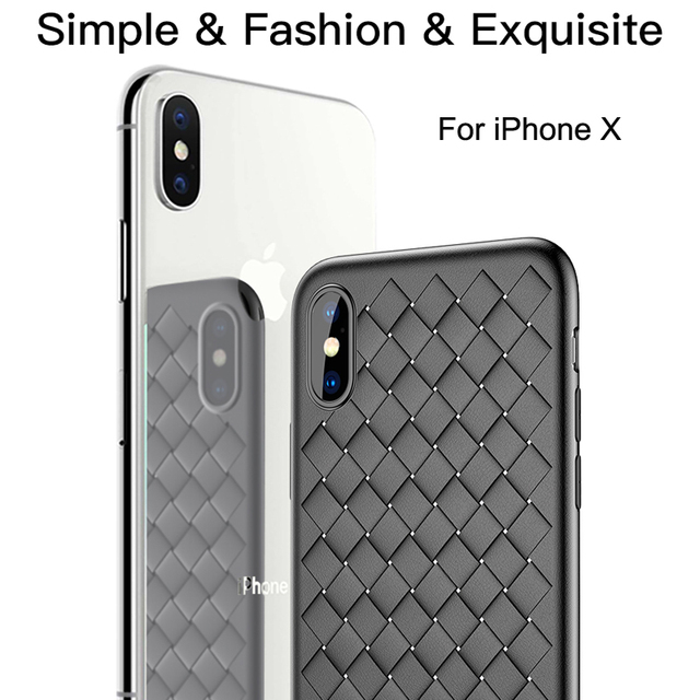 Baseus Phone Bag Case For iPhone 8 7 6 6s Plus X 10 Capinhas Luxury Weave Grid Silicone Cover Case For iPhoneX Coque Phone Pouch