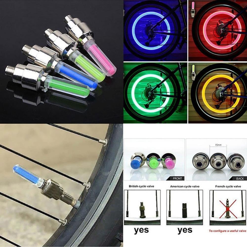 Hot Car Bike Bicycle Wheel Light Neon Valve Caps Lamp Bike LED Flash Tire Spoke
