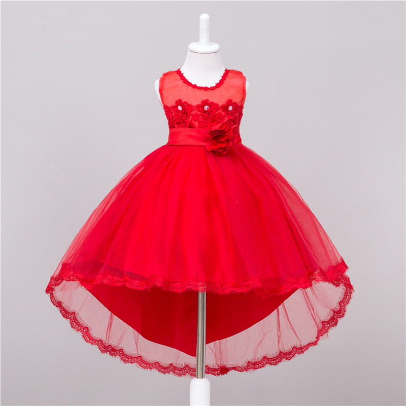 Baby Flower Girl Dress Wedding Bridesmaid Pageant Party Vestido Infantil Trailing Lace Bridesmaid Flower Dresses Wedding Prom 15 color infant girl dress baby girl pageant dress girl party dresses flower girl dresses girl prom dress 1t 6t g081 4