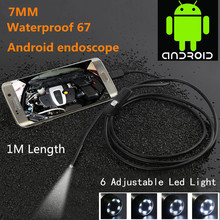 Waterproof 480P HD 7mm lens Inspection Pipe 1m Endoscope Mini USB Camera Snake Tube with 6 LEDs Borescope For Android Phone PC