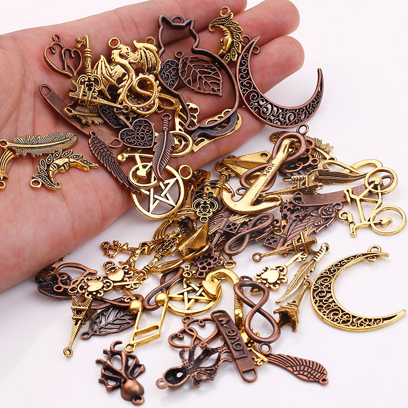 Vintage Wire Chain Jewelry Making Brass Chain Custom: Metal Mixed Charms For Jewelry Making DIY Handmade Crafts