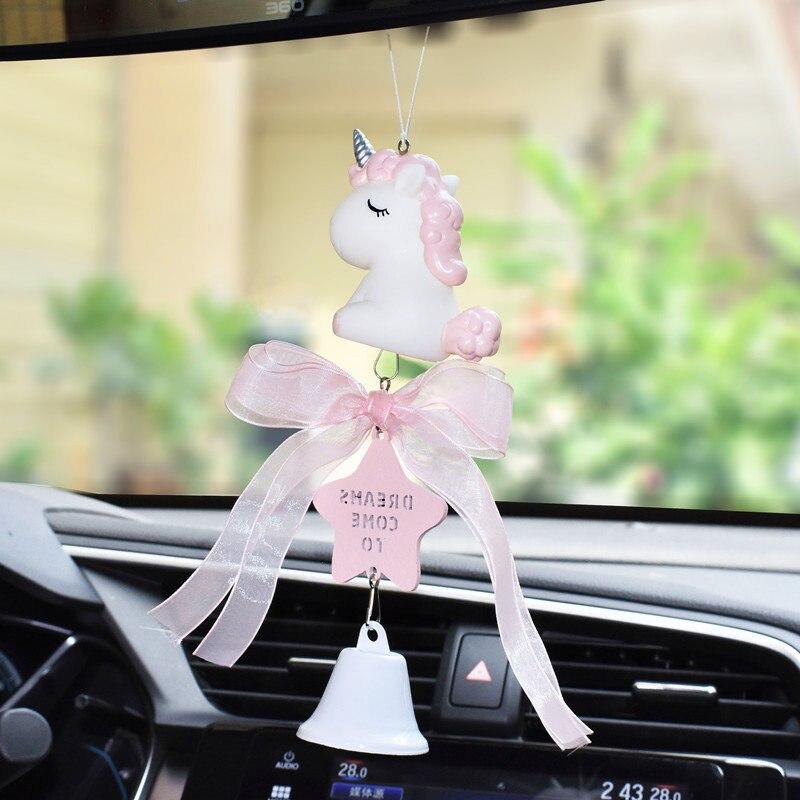 100% Kwaliteit Mooie Eenhoorn Auto Hanger Kant Strik Klokken Styling Opknoping Ornamenten Achteruitkijkspiegel Decor Auto Accessoires Voor Meisjes Gift Obstructie Verwijderen