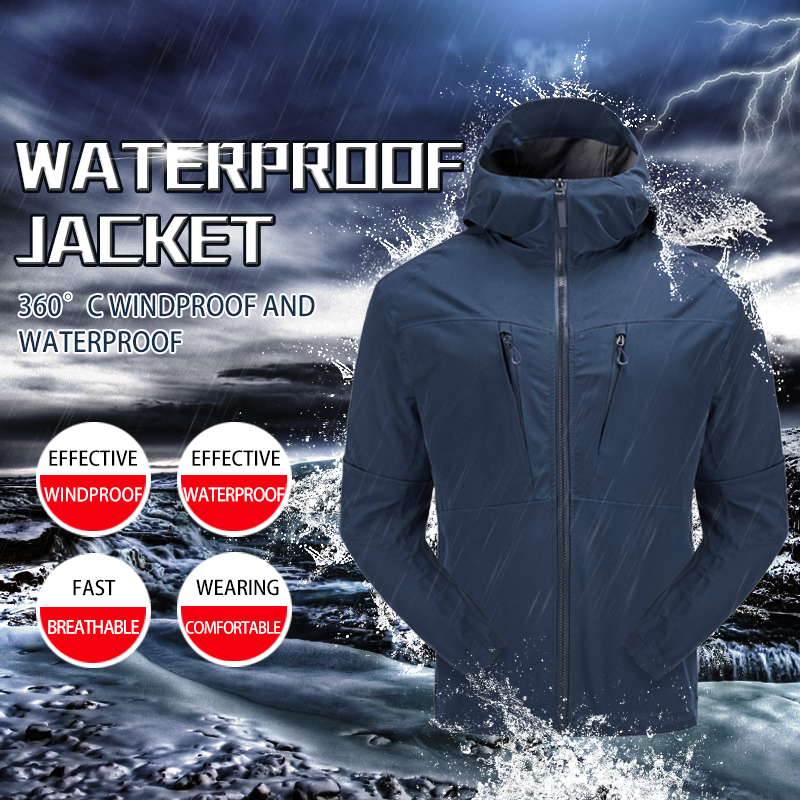 Outdoor Waterproof jacket men Hiking clothing Softshell jacket 3 layer PU coating fabric Hiking jacket Light Rainproof suit(China)