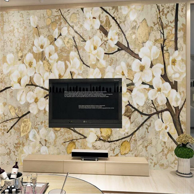 Peach Blossom Oil Painting Flower Wall Professional Production Wallpaper Mural Custom Photo Wholesale