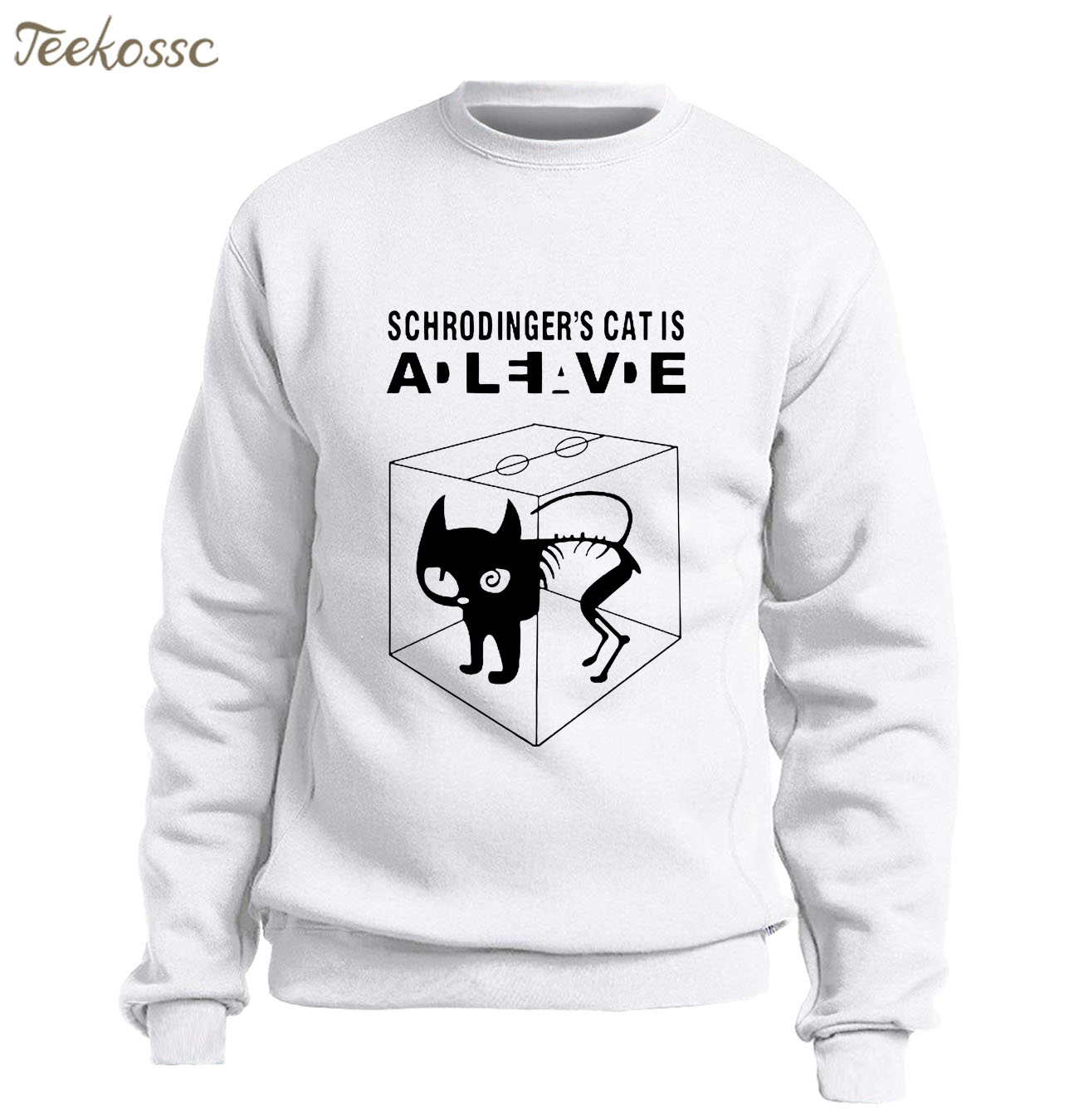 The Big Bang Theory Schrodinger's Cat Sweatshirt Men Funny Hoodie Graphics Design Sweatshirts Fleece Warm White Streetwear Homme