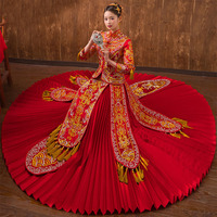 Oriental Chinese Traditional Wedding Dress Women Phoenix Embroidery Cheongsam Red Rayon Qipao Bride Traditions Robe Chinoise