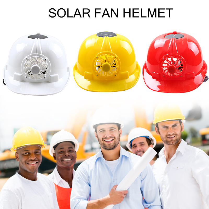 New Solar Powered Safety font b Helmet b font Hard Ventilate Hat Cap with Cooling Cool