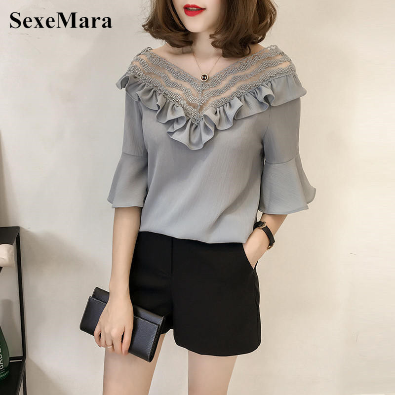 2018 Casual Female Chiffon Shirt Ruffles Design Solid Blouse Half Sleeve V-neck Tops Fas ...