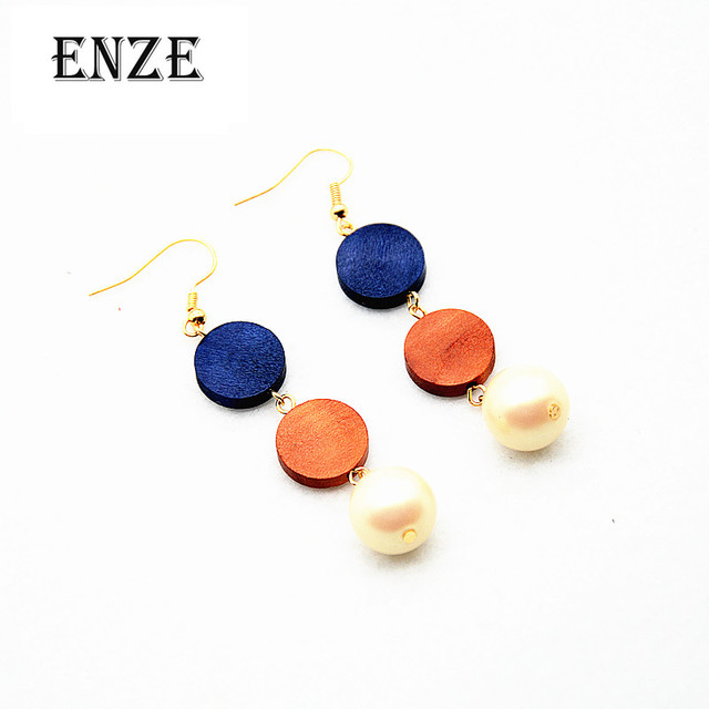 Us 186 25 Offfree Shipping Fashion Synthetic Pearl Jewelry Woman Wooden Discs Combined Long Section Of Female Earrings Temperament Simple In Drop