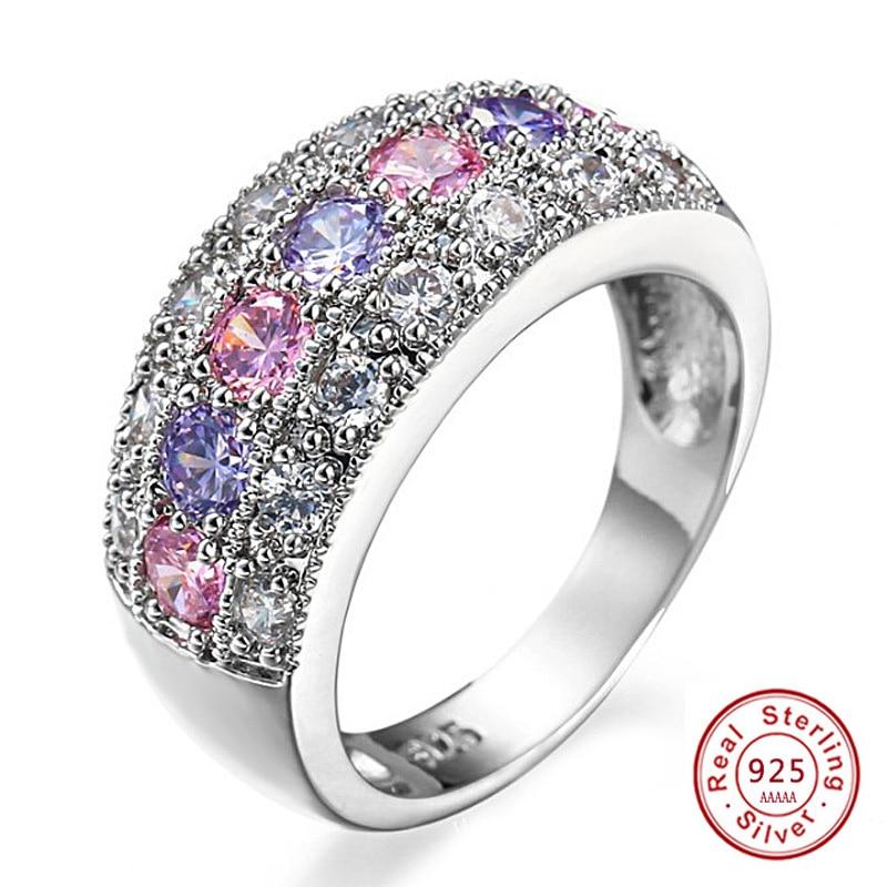 2017 ÚJ anel feminin CZ kristály gyűrűk nőknek Esküvői 925 sterling-ezüst-ékszerek Nagy ujj gyűrű JZ5 anillos mujer