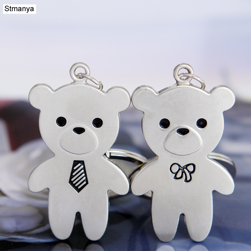 Couple Bear Keychain - New Cool Luxury Metal Keychain Car Key Chain Key Ring Cute Bear Chain For Man Women Gift Wholesale 17285