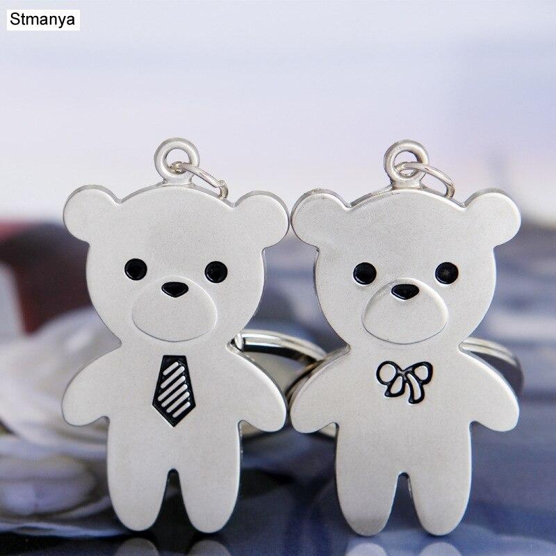 Couple Bear keychain - New Cool Luxury metal Keychain Car Key Chain Key Ring Cute Bear chain For Man Women Gift wholesale 17285