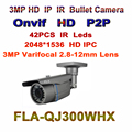CCTV HD 3MP 2048*1536P Low Lux Sensor IP Camera ONVIF Manual Varifocal Zoom 2.8~12mm Smart Security P2P Street Surveillance