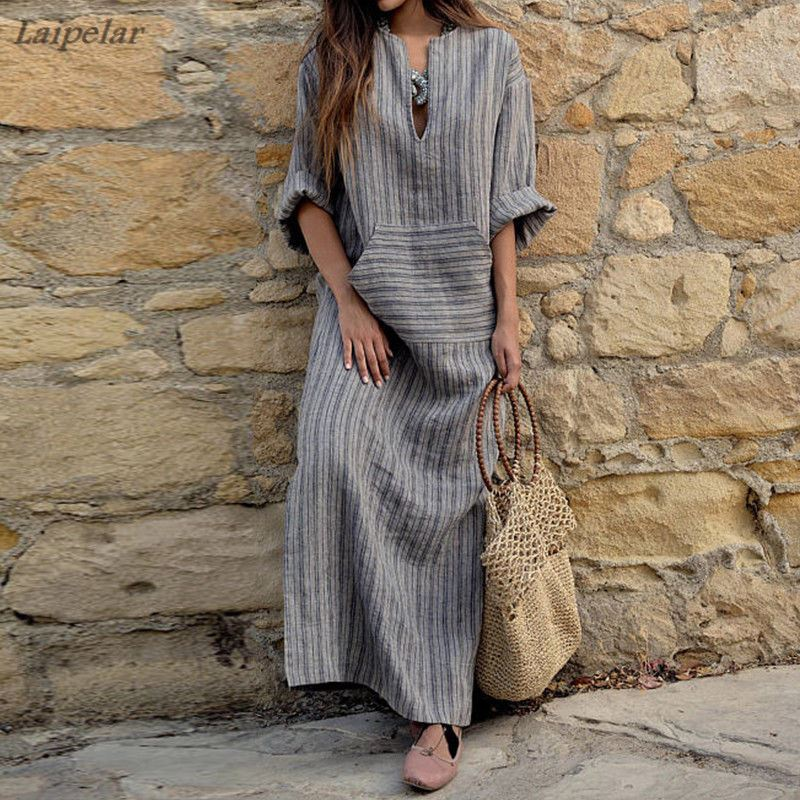 Womens Big size Maxi Dress 4XL 5XL large Kaftan Long Sleeve 2018 Summer Striped Women Plus Size Cotton Linen