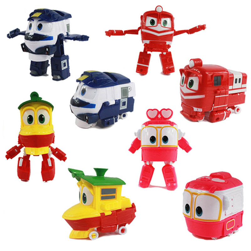 Robot Train Toys 13cm PVC Model  RT Car Robot Trains Alf Transformation Anime Action & Toy Figures for Children lady bug dolls