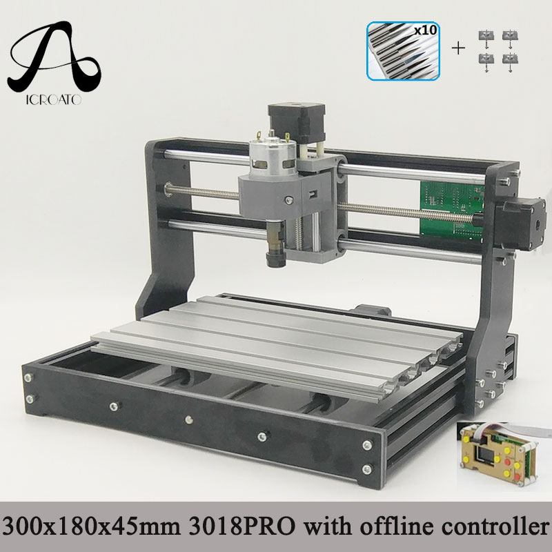 Free Shipping ICROATO GRBL Offline Controller Wood Router Engraver 3Axis PCB PVC Milling machine CNC 3018