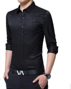 2018 весенний и осенний период и мужская рубашка в деловом стиле с длинными рукавами-dbg-E98