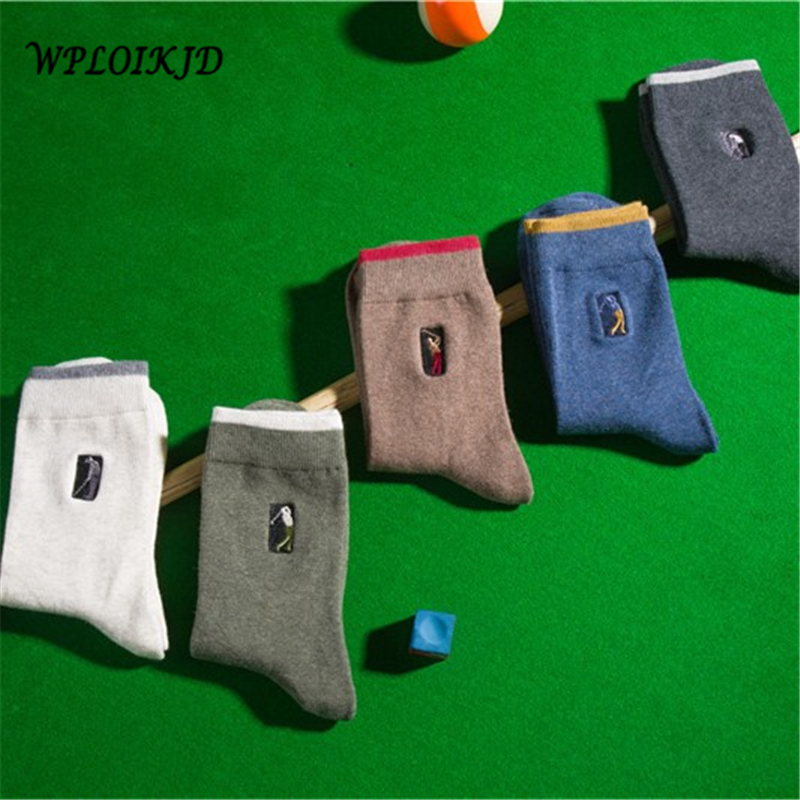 [WPLOIKJD] Japanese Solid Embroidery Fun Men Socks Week Cotton Casual Socks For Men Hip Hop Cool Tube Meias Mans Sokken Sox G ...