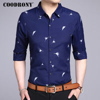 COODRONY Men Shirt Fashion Pattern Long Sleeve Camisas Masculina Mens Business Casual Shirts 2017 New Famous