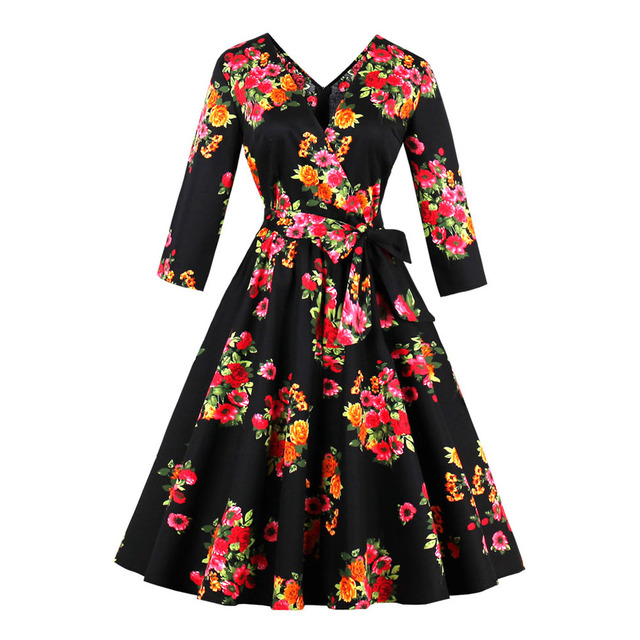 802935324cfad Kenancy Plus Size Vintage Rockabilly Floral Print Cotton Stretchy Dress V  Neck Long Sleeves Swing Party