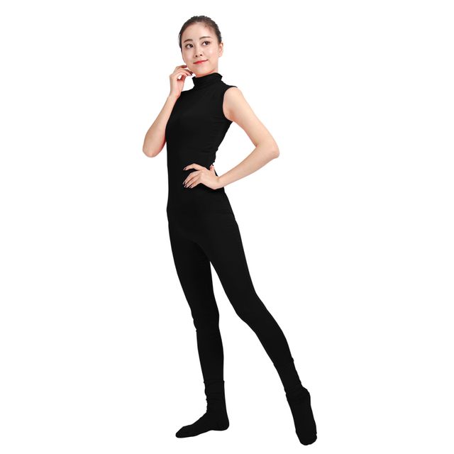 Ensnovo Women Dance Costumes Dancewear Gymnastics Spandex Second Skin  Unitard Suit Jumpsuit Leotard Black Unitard Yoga 52cd49434121
