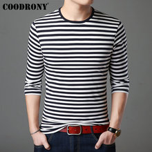 COODRONY Long Sleeve T Shirt Men Streetwear Bottoming Tshirt Striped Tops Casual O-Neck T-Shirt Cotton Tee Homme 95007