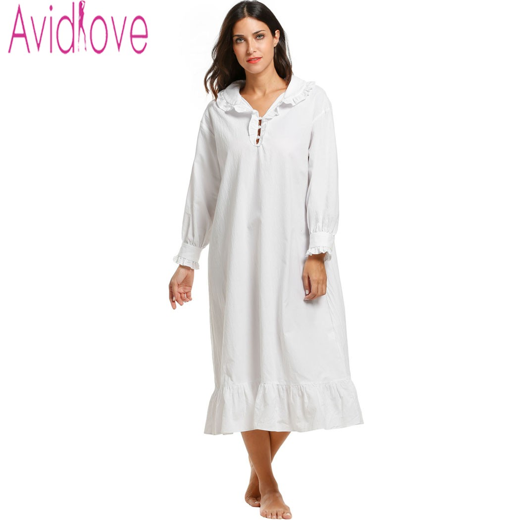 Avidlove women white sleepwear sleep dress cotton Long cotton sleep shirts