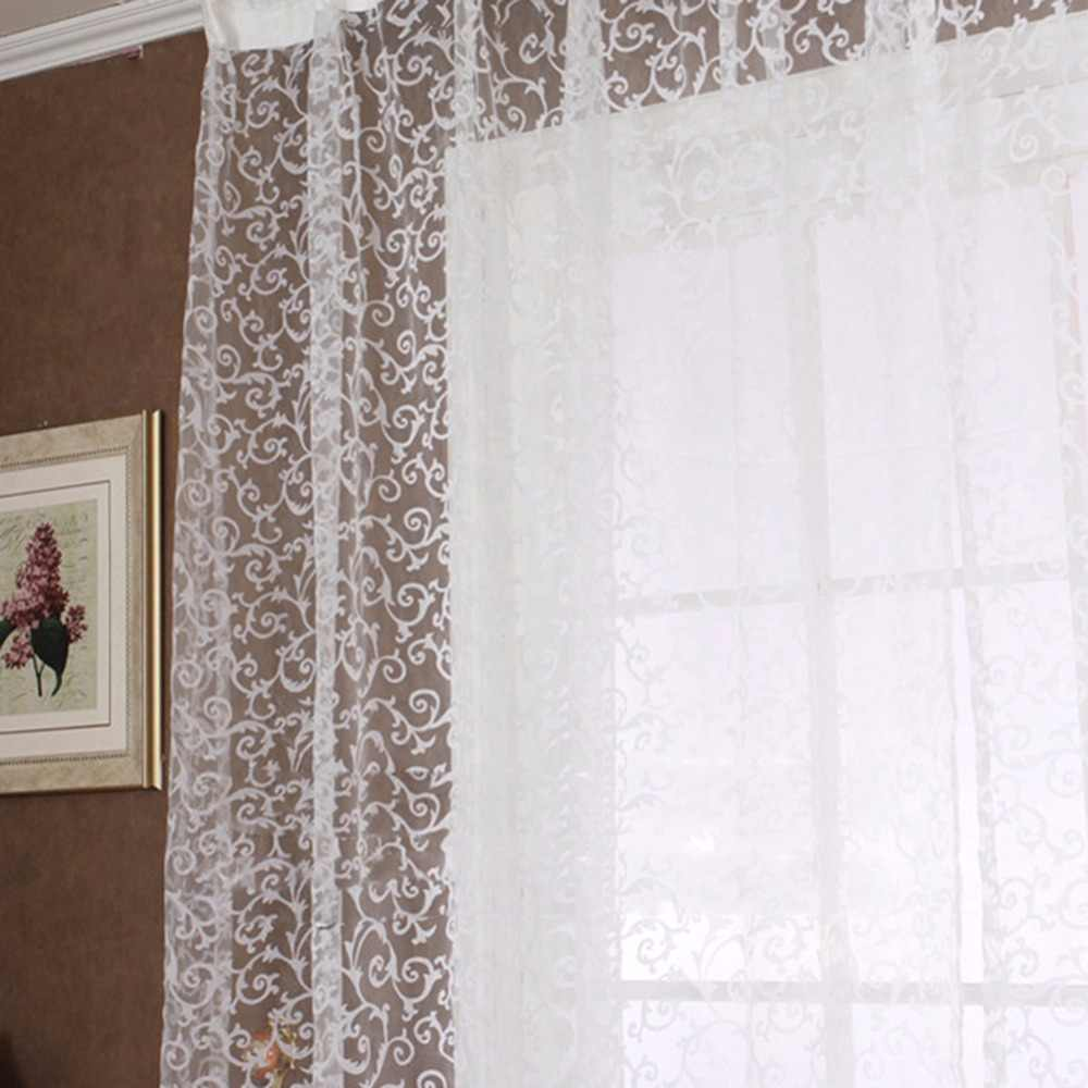 Europe Style Jacquard Floral Window Curtain Sheer Drape Panel Sheer Scarf Valances Tulle Fabrics Sheer Curtains
