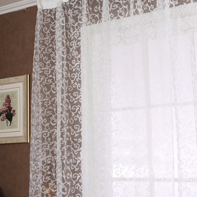 Europe Style Jacquard Floral Window Curtain Sheer Drape Panel Scarf Valances Tulle Fabrics Curtains