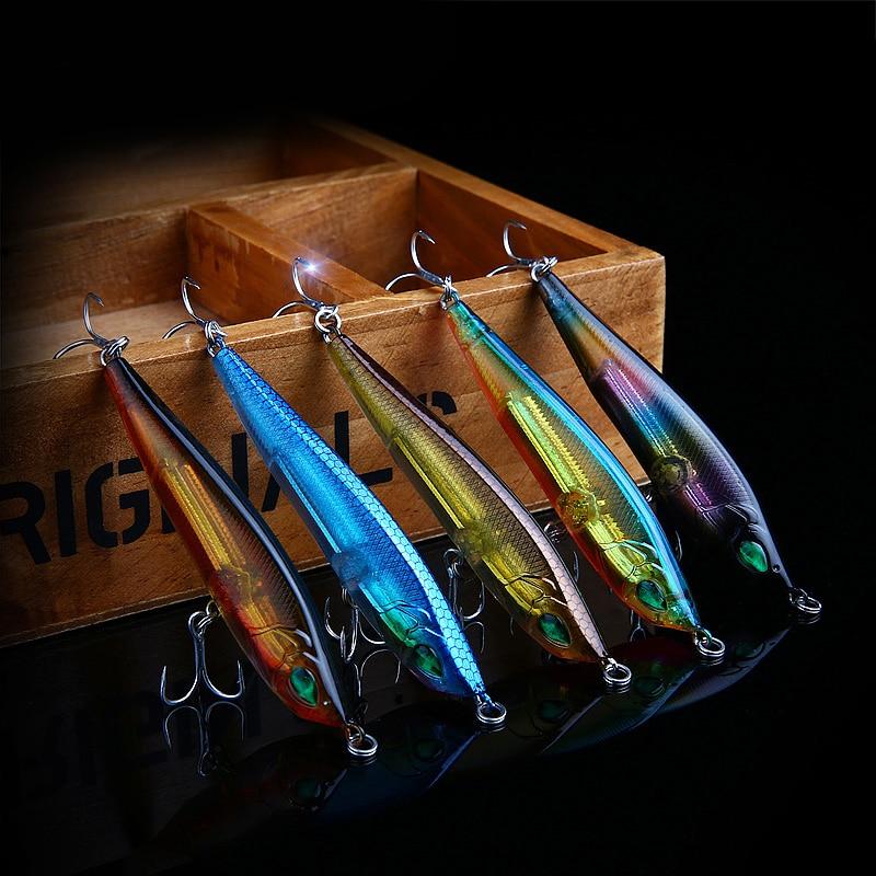 1 ADET Kalem Balıkçılık Cazibesi Yapay Sert Yem 5 Renkler Wobbler - Balık Tutma