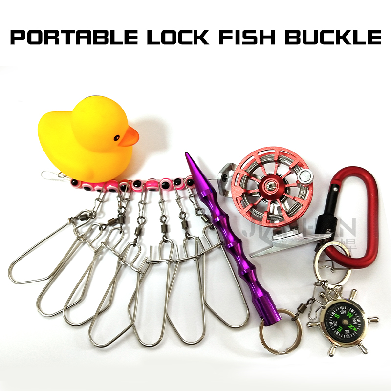 Jianhan portable lock fish buckle with reel can shrink live fish buckle lure fishing special fish compass compass buoy