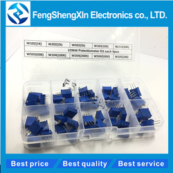 50 pçs/lote novo 3296 w multiturn kit potenciômetro aparador de alta precisão resistor variável 500r 1 k 2 5 k 10 20 k 50 k 100 k 200 k 1 m