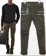 Стиль простирание хлопок много — вкладыш мотоцикл брюки двойной молния вилочная часть мужчины подиумы свободного покроя брюки 30 — 36