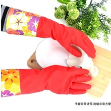 New arrival heat conserving cotton fabric lining latex security working glove with slip-resistant palm & lengthy sleeve
