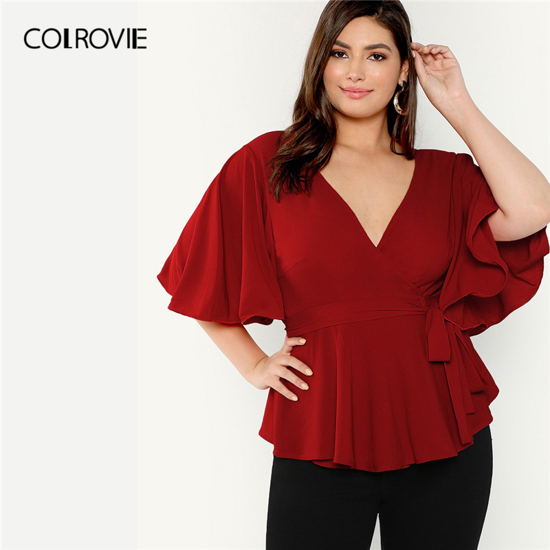 COLROVIE Plus Size Red V Neck Flutter Sleeve Ruffle Surplice Wrap Knot Elegant   Blouse     Shirt   Women 2019 Summer Office Ladies Tops