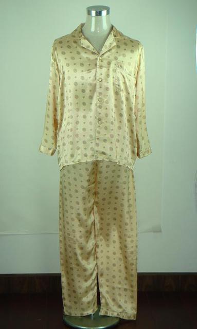 Oro de moda promoción de hombre Faux pijamas de seda conjunto clásico 2 unids camisa + pantalones de dormir envío gratis talla sml XL XXL MP003